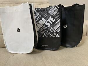 "NEW Lot of 3 LULULEMON Black White Reusable Lunch Shopping Bags 15"" x 14"" x 6"""
