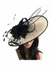 NIGEL RAYMENT IVORY NAVY WEDDING ASCOT DISC FASCINATOR Mother Of The Bride Hat