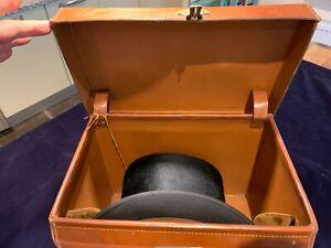 Lock & Co Black Top Hat In Original Vintage Leather Hat Box