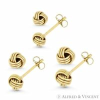 Love Knot Charm 4.5mm, 5mm, or 5.5mm Pushback Stud Earrings in 10k Yellow Gold