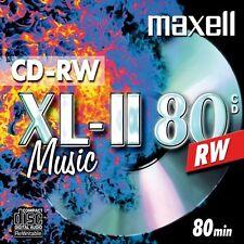 10 X Maxell Xl-ii Cd-rw 80 Minutes Audio Music Blank Disc Rewritable JEWEL Case