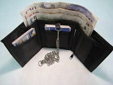 SOFT LEATHER TRIFOLD WALLET WITH SECURITY CHAIN