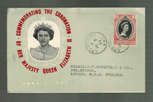 1953 Grenada Coronation to England FDC first day cover QE2 Queen Elizabeth II