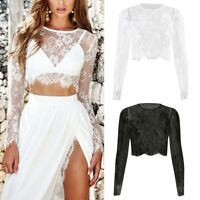 Women's Crop Tops Splicing Mesh Perspective Long Sleeve Sexy Lace Foral T Shirt