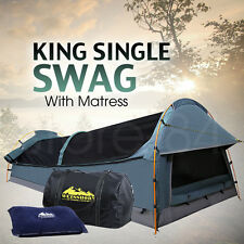 King Single Dome SWAG Camping Canvas Tent with Mattress & Air Pillow - NAVY