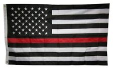 3x5 Embroidered Sewn USA Fire Dept Thin Red Line 210D Nylon Flag 3'x5' grommets
