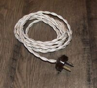 IVORY ~ 8' Vintage Twisted Cloth Covered Lamp Cord w/ Acorn Plug ~ by PLD