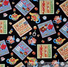 BonEful Fabric FQ Cotton Quilt B&W Red Chocolate Block Square Tea*Pot Cup Flower