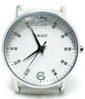 DKNY NY-8159 White Silver 37mm analog quartz watch Silicone rhinestones Women's
