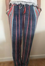 """""""JUST. NOA"""" PARIS STRIPED FLOWING SUMMER PALAZZO TROUSERS SIZE UK 6 8 & 10"""