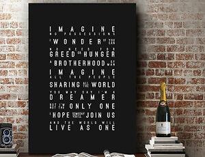 John Lennon Imagine - Poster Word Wall Art Song Lyrics ART PRINT | CANVAS GIFT