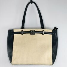 Kate Spade Black Genuine Leather Straw Tote Shoulder Bag Handbag Purse Roomy