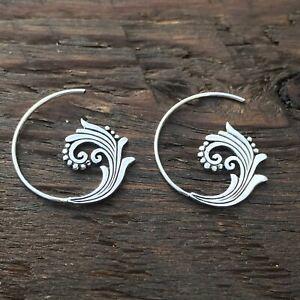 Sterling Silver 'Intricate Wave' Design Spiral Hoop Earrings