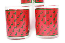 Christmas Glasses Rock Old Fashioned Reindeer Red Deer Set of 3 Georges Briard