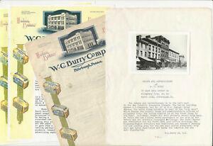 1920s W.C. Burry Pittsburgh Bakery Illustrated Letterhead Photograph Typescript