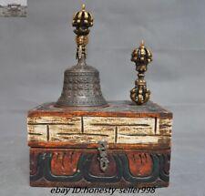 Old Tibetan buddhism Wood Box Bronze Vajra Phurpa Sutra Zhong Bell Pray FaQi Set