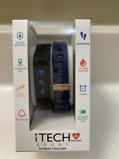 Itech Sport Fitness Tracker with a extra strap (Black/Navy) and Charging Cable