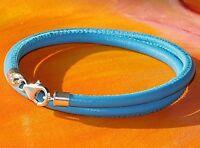 Mens / Ladies Light Blue nappa leather & sterling silver bracelet - Lyme Bay Art