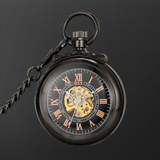 Transparent Arabic Numeral Literary Dress Mechanical Pocket Watch Brown Case