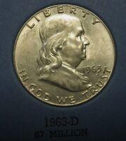 1957-D Ben Franklin Silver Half Dollar Average Circulated Condition Great Price