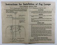 Vintage Automobile Fog Lamp Installation Instructions Nos 10 12 4012A 4012