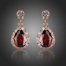 De Lujo Exclusivo Brillante Circón Gota Colgante Rojo Brillante Mujer Earrings Joyas