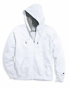 Champion Fleece Jacket Mens Powerblend Sweatshirt Full Zip Hooded Stitched Logo