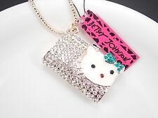 Betsey Johnson personality inlay Crystal handbag pendant necklace # Y