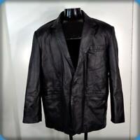 G-III Classic Soft Leather Blazer JACKET Mens Size XL Black insulated