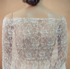 """Ivory Chantilly Floral Bridal Lace Fabric 59"""" Wide for Wedding Dress 0.5 Yard"""