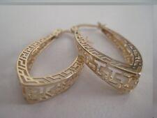 Gold double greek key hoop earrings 9 carat yellow 3D OVAL