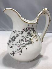 D & Co Porcelain Pitcher Creamer Vase With Birds Flowers Leaves Gold Gild Trim