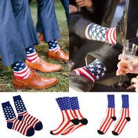 Patriotic American Flag Men Cotton Stars&Stripes USA Casual Crew Socks Old Glory