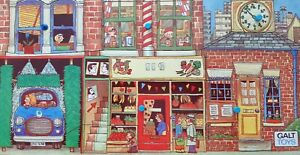 Vintage Galt Tray Peg Wooden Puzzle, busy street scene