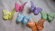 Feather Butterflies - Set of 6 - Spotted Design - 7cm Wingspan - Spring Decs