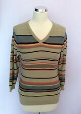 JAEGER BEIGE STRIPED V NECK COTTON JUMPER  SIZE S