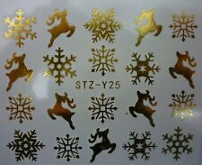 Nail Art Water Decals Stickers Christmas Metallic GOLD Snowflakes Reindeer (25G)