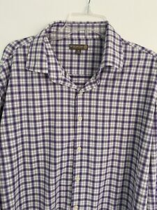Peter Millar Summer Comfort Golf Button Down Shirt Purple Plaid Sz XL