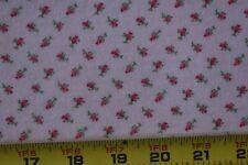 "35"" Long, Vintage, Red & Green Rosebuds on Pink Cotton Flannel, P2648"