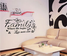 English Words Family Home Room Decor Removable Wall Stickers Decal Decorations