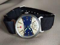 Pobeda Wrist Watch Ocean VMF USSR + New Nato Strap / Serviced