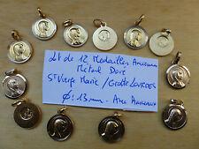 LOT de 12  MEDAILLE   métal doré Sainte Vierge Marie / Grotte de Lourdes  13 mm