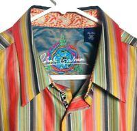Robert Graham Valencia Mens Cotton Flip Cuff Long Sleeve Button Down Shirt Sz XL