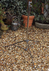 Vintage Lighting Stand Chromed Steel & Wrought Iron