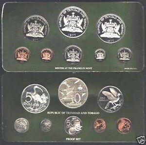 TRINIDAD & TOBAGO 1 5 10 25 50  $1 5 10 1976-1977 SILVER COIN UNC Complete SET