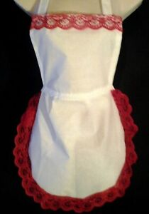 Full apron waistress white 50's style red lace  detail.Vintage retro Victorian