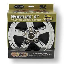 """2 Pair (4) New Wheelies Golf Car Cart Wheel Covers Hub Caps for 8"""" Tires GV188"""