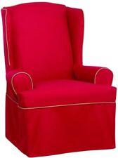 SureFit Monaco Tailored Skrt - Wing Chair Slipcover - Red/Khaki (SF44770)