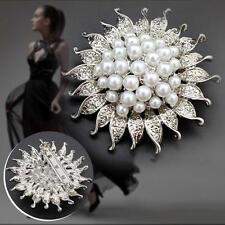 2017 Rhinestone Crystal Flower Pearl Brooch Pin Present for Girl Ladies Women KJ