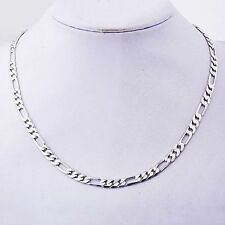 "White Gold Plated Womens Thick Silver Figaro Chain 20"" Long Necklace Jewelry"